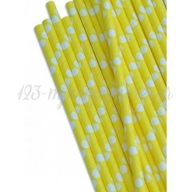 Καλαμάκια χάρτινα κίτρινο με λευκό μεγάλο πουά - ΚΩΔ:8789-JP