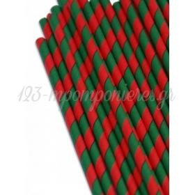Καλαμάκια χάρτινα ριγέ πράσινο-κόκκινο - ΚΩΔ:8796-JP