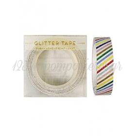 Αυτοκόλλητη Ταινία multi stripes glitter - ΚΩΔ:45-1362-JP