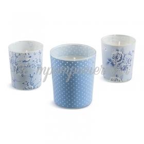 Κερί σε ποτηράκι 3 σχέδια ΣΙΕΛ - Κωδ:020960010-B-PR