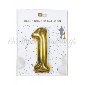 Μπαλόνι χρυσό foil αριθμός 1- ΚΩΔ:BDAY-BALL-1-JP