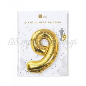 Μπαλόνι χρυσό foil αριθμός 9 - ΚΩΔ:BDAY-BALL-9-JP