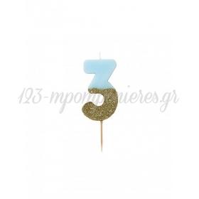 Κεράκι γενεθλίων Νο 3  We ♥ Birthdays Boy - ΚΩΔ:BDAY-CANDLE-BLUE-3-JP