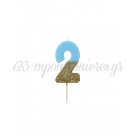 Κεράκι γενεθλίων Νο 2 We ♥ Birthdays Boy - ΚΩΔ:BDAY-CANDLE-BLUE-2-JP