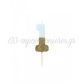 Κεράκι γενεθλίων Νο 1 We ♥ Birthdays Boy - ΚΩΔ:BDAY-CANDLE-BLUE-1-JP