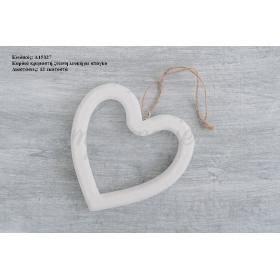 Καρδια 12 Εκατ. Ξυλινη Λευκη Με Σπαγκο - ΚΩΔ:A15327-Ra