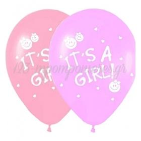 ΜΠΑΛΟΝΙΑ «It's a girl» ΜΕ ΧΑΜΟΓΕΛΑΣΤΕΣ ΦΑΤΣΟΥΛΕΣ ΣΕ 2 ΑΠΟΧΡΩΣΕΙΣ ΤΟΥ ΡΟΖ 12'' (30cm) – ΚΩΔ.:13512273-BB