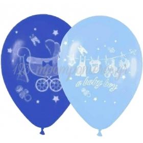 ΓΑΛΑΖΙΑ-ΜΠΛΕ ΜΠΑΛΟΝΙΑ «A baby boy» ΜΕ BABY ΚΑΡΟΤΣΑΚΙ 12'' (30cm) – ΚΩΔ.:13512334-BB