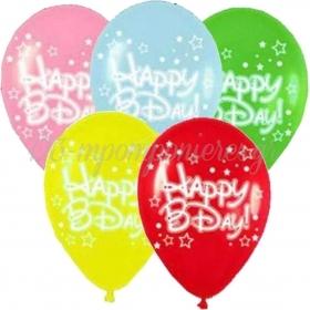 ΤΥΠΩΜΕΝΑ ΜΠΑΛΟΝΙΑ LATEX «Happy Bday» ΜΕ ΑΣΤΕΡΙΑ ΣΕ 5 ΧΡΩΜΑΤΑ 13΄΄ (33cm) – ΚΩΔ.:13512533-BB