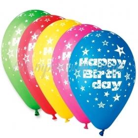ΤΥΠΩΜΕΝΑ ΜΠΑΛΟΝΙΑ LATEX «Happy Birthday» ΜΕ ΑΣΤΕΡΙΑ ΣΕ 5 ΧΡΩΜΑΤΑ 13΄΄ (33cm)  – ΚΩΔ.:13612200-BB