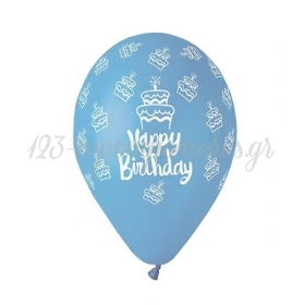 ΤΥΠΩΜΕΝΑ ΜΠΑΛΟΝΙΑ LATEX BABY BLUE «Happy Birthday» CAKE 13΄΄ (33cm)  – ΚΩΔ.:13613249e-BB