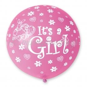 ΦΟΥΞΙΑ ΜΠΑΛΟΝΙΑ LATEX 90cm «It's a girl» – ΚΩΔ.:13631100-BB
