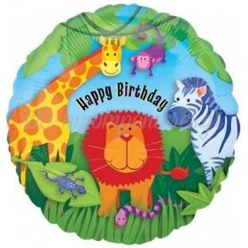 ΜΠΑΛΟΝΙ FOIL ΓΕΝΕΘΛΙΩΝ «Happy Birthday» ΜΕ ΖΩΑΚΙΑ ΤΗΣ ΖΟΥΓΚΛΑΣ 45cm – ΚΩΔ.:119998-BB