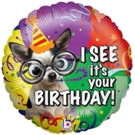 ΜΠΑΛΟΝΙ FOIL ΓΕΝΕΘΛΙΩΝ «I see it's your birthday» ΜΕ ΣΚΥΛΑΚΙ ΜΕ ΓΥΑΛΙΑ 53cm – ΚΩΔ.:14014-BB