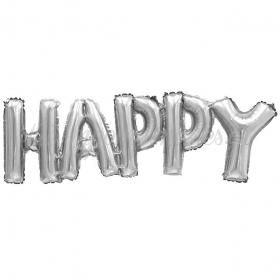 ΜΠΑΛΟΝΙ FOIL ΓΕΝΕΘΛΙΩΝ SUPER SHAPE «HAPPY» ΕΝΩΜΕΝΗ ΦΡΑΣΗ ΑΣΗΜΙ 45cm – ΚΩΔ.:207120-BB