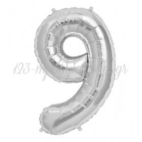 ΜΠΑΛΟΝΙ FOIL ΑΣΗΜΙ 40cm ΑΡΙΘΜΟΣ ΕΝΝΕΑ – ΚΩΔ.:526N79-BB