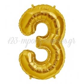 Μπαλονι Foil Χρυσος 40Cm Αριθμος Τρια – ΚΩΔ.:526N83-Bb
