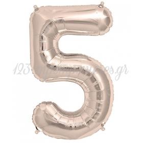 Μπαλονι Foil Ασημι - Ροζε 100Cm Αριθμος Πεντε – ΚΩΔ.:526R05-Bb
