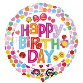 ΜΠΑΛΟΝΙ FOIL ΓΕΝΕΘΛΙΩΝ «Happy Birthday» ΠΟΥΑ ΜΕ ΠΕΤΑΛΟΥΔΕΣ 45cm – ΚΩΔ.:530729-BB
