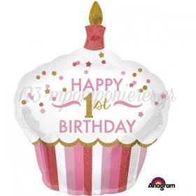 ΜΠΑΛΟΝΙ FOIL ΓΕΝΕΘΛΙΩΝ SUPERSHAPE CUPCAKE «Happy 1st Birthday» ΚΟΡΙΤΣΙ 73x91cm – ΚΩΔ.:534522-BB