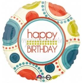 ΜΠΑΛΟΝΙ FOIL ΓΕΝΕΘΛΙΩΝ «Happy Birthday» ΜΕ ΚΥΚΛΟΥΣ 45cm – ΚΩΔ.:534553-BB