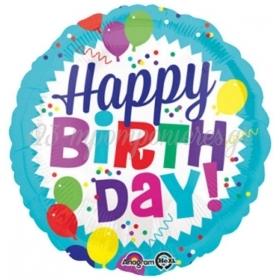 ΜΠΑΛΟΝΙ ΦΥΛΛΩΜΑΤΟΣ FOIL ΓΕΝΕΘΛΙΩΝ «Happy Birthday» 45cm – ΚΩΔ.:534559-BB