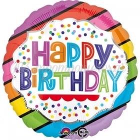 ΜΠΑΛΟΝΙ FOIL ΓΕΝΕΘΛΙΩΝ «Happy Birthday» ΜΕ BRIGHT STRIPES 45cm – ΚΩΔ.:535145-BB