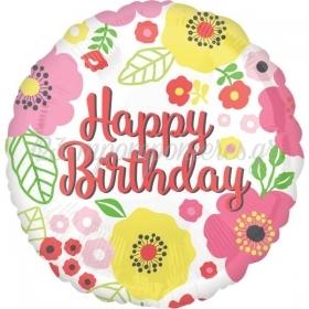 ΜΠΑΛΟΝΙ FOIL ΓΕΝΕΘΛΙΩΝ «Happy Birthday» ΦΛΟΡΑΛ 45cm – ΚΩΔ.:535225-BB