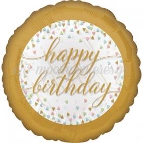 ΠΑΣΤΕΛ ΜΠΑΛΟΝΙ FOIL ΓΕΝΕΘΛΙΩΝ «Happy Birthday» ΜΕ CONFETTI 45cm – ΚΩΔ.:537177-BB