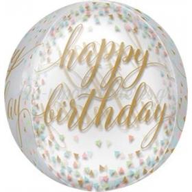 ΔΙΑΦΑΝΟ ΜΠΑΛΟΝΙ FOIL ΓΕΝΕΘΛΙΩΝ «Happy Birthday» ΧΡΥΣΟ ORBZ 45cm – ΚΩΔ.:537181-BB