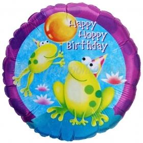 ΜΠΑΛΟΝΙ FOIL ΓΕΝΕΘΛΙΩΝ «Happy Hoppy Birthday» ΜΕ ΒΑΤΡΑΧΑΚΙΑ 45cm – ΚΩΔ.:60729-BB