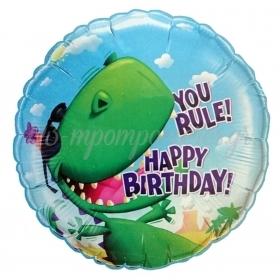 ΜΠΑΛΟΝΙ FOIL ΓΕΝΕΘΛΙΩΝ «You Rule Happy Birthday» ΜΕ ΔΕΙΝΟΣΑΥΡΟ 45cm – ΚΩΔ.:80827-BB