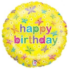 ΜΠΑΛΟΝΙ FOIL ΓΕΝΕΘΛΙΩΝ «Happy Birthday» ΜΕ ΠΕΤΑΛΟΥΔΕΣ 45cm – ΚΩΔ.:86433-BB