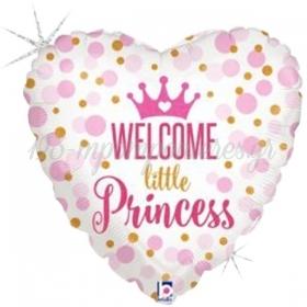 ΜΠΑΛΟΝΙ FOIL 45cm ΓΙΑ ΓΕΝΝΗΣΗ SUPERSHAPE «Welcome Little Princess» – ΚΩΔ.:36713-BB