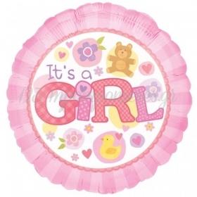 ΜΠΑΛΟΝΙ FOIL 45cm ΓΙΑ ΓΕΝΝΗΣΗ «It's a Girl» ΜΕ ΑΡΚΟΥΔΑΚΙ ΚΑΙ ΛΟΥΛΟΥΔΙΑ – ΚΩΔ.:515821-BB