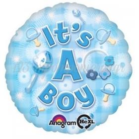 ΜΠΑΛΟΝΙ FOIL 45cm ΓΙΑ ΓΕΝΝΗΣΗ «It's a Boy» ΓΑΛΑΖΙΟ – ΚΩΔ.:525917-BB