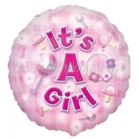 ΜΠΑΛΟΝΙ FOIL 45cm ΓΙΑ ΓΕΝΝΗΣΗ «It's a Girl» ΓΛΥΓΙΤΖΟΥΡΙ – ΚΩΔ.:525918-BB