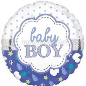 ΜΠΑΛΟΝΙ FOIL 45cm ΓΙΑ ΓΕΝΝΗΣΗ «Baby boy» – ΚΩΔ.:533642-BB