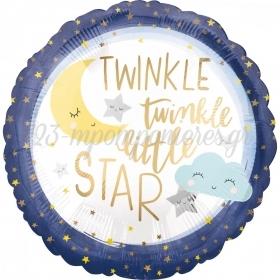 ΜΠΑΛΟΝΙ FOIL 45cm ΓΙΑ ΓΕΝΝΗΣΗ «Twinkle Twinkle Little Star» – ΚΩΔ.:538506-BB