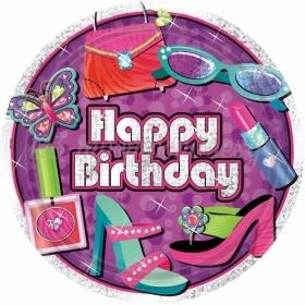 ΧΑΡΤΙΝΑ ΠΙΑΤΑ ''HAPPY BIRTHDAY'' GLAMOUR GIRL 22.9CM - ΚΩΔ:559949-BB