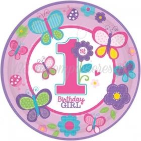 ΧΑΡΤΙΝΑ ΠΙΑΤΑ '1ST BIRTHDAY GIRL' 22.9CM - ΚΩΔ:998108-BB