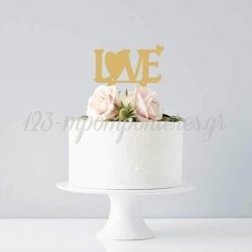 ΔΙΑΚΟΣΜΗΤΙΚΟ TOPPER LOVE ΧΡΥΣΟ 17CM - ΚΩΔ:D15016-3-BB