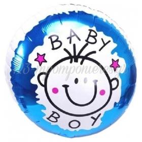 ΜΠΑΛΟΝΙ FOIL 45cm ΓΙΑ ΓΕΝΝΗΣΗ «Baby Boy» ΜΕ ΧΑΜΟΓΕΛΑΣΤΗ ΦΑΤΣΟΥΛΑ  – ΚΩΔ.:206161-BB