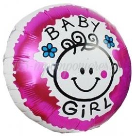 ΜΠΑΛΟΝΙ FOIL 45cm ΓΙΑ ΓΕΝΝΗΣΗ «Baby Girl» ΜΕ ΧΑΜΟΓΕΛΑΣΤΗ ΦΑΤΣΟΥΛΑ  – ΚΩΔ.:206162-BB