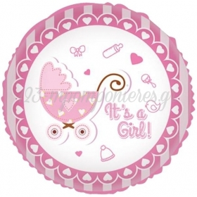 ΜΠΑΛΟΝΙ FOIL 45cm ΓΙΑ ΓΕΝΝΗΣΗ «It's a Girl» ΡΟΖ  ΚΑΡΟΤΣΑΚΙ – ΚΩΔ.:206246-BB