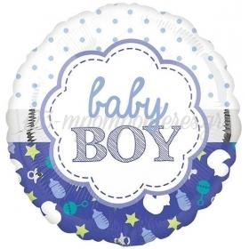 ΜΠΑΛΟΝΙ FOIL 45cm ΓΙΑ ΓΕΝΝΗΣΗ «Baby Boy» SCALLOP – ΚΩΔ.:207141-BB