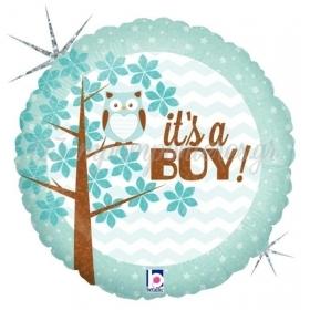 ΜΠΑΛΟΝΙ ΙΡΙΔΙΖΟΝ FOIL 45cm ΓΙΑ ΓΕΝΝΗΣΗ «It's a Boy» ΜΕ ΚΟΥΚΟΥΒΑΓΙΑ – ΚΩΔ.:36158-BB