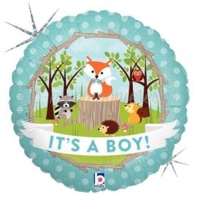 ΜΠΑΛΟΝΙ ΙΡΙΔΙΖΟΝ FOIL 45cm ΓΙΑ ΓΕΝΝΗΣΗ «It's a Boy» ΜΕ ΔΑΣΟΣ – ΚΩΔ.:36179-BB