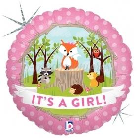ΜΠΑΛΟΝΙ ΙΡΙΔΙΖΟΝ FOIL 45cm ΓΙΑ ΓΕΝΝΗΣΗ «It's a Girl» ΜΕ ΔΑΣΟΣ – ΚΩΔ.:36180-BB