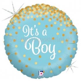 ΜΠΑΛΟΝΙ FOIL 45cm ΓΙΑ ΓΕΝΝΗΣΗ «It's a Boy» ΜΕ ΓΚΛΙΤΕΡ – ΚΩΔ.:36587-BB